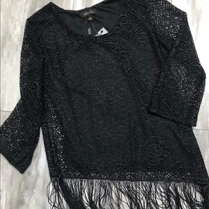 Melissa Page lose knit silver black fringe Small